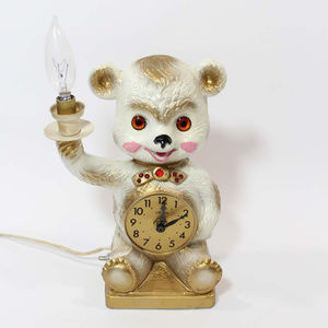 VTG 60s Mid Century Kitsch Bear Wall Clock Nursery